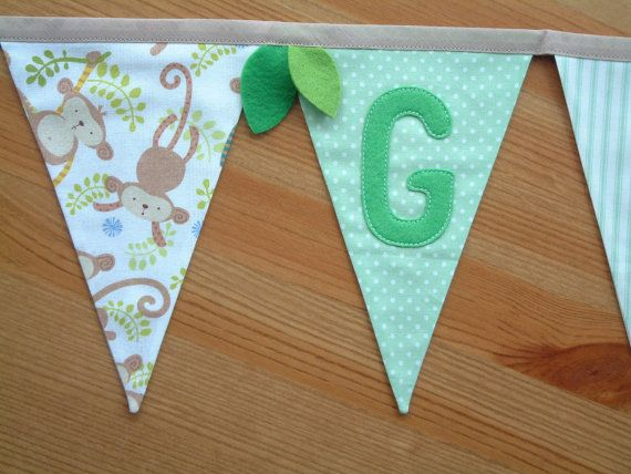 Jungle personalised bunting name banner. by patchworkpawprint
