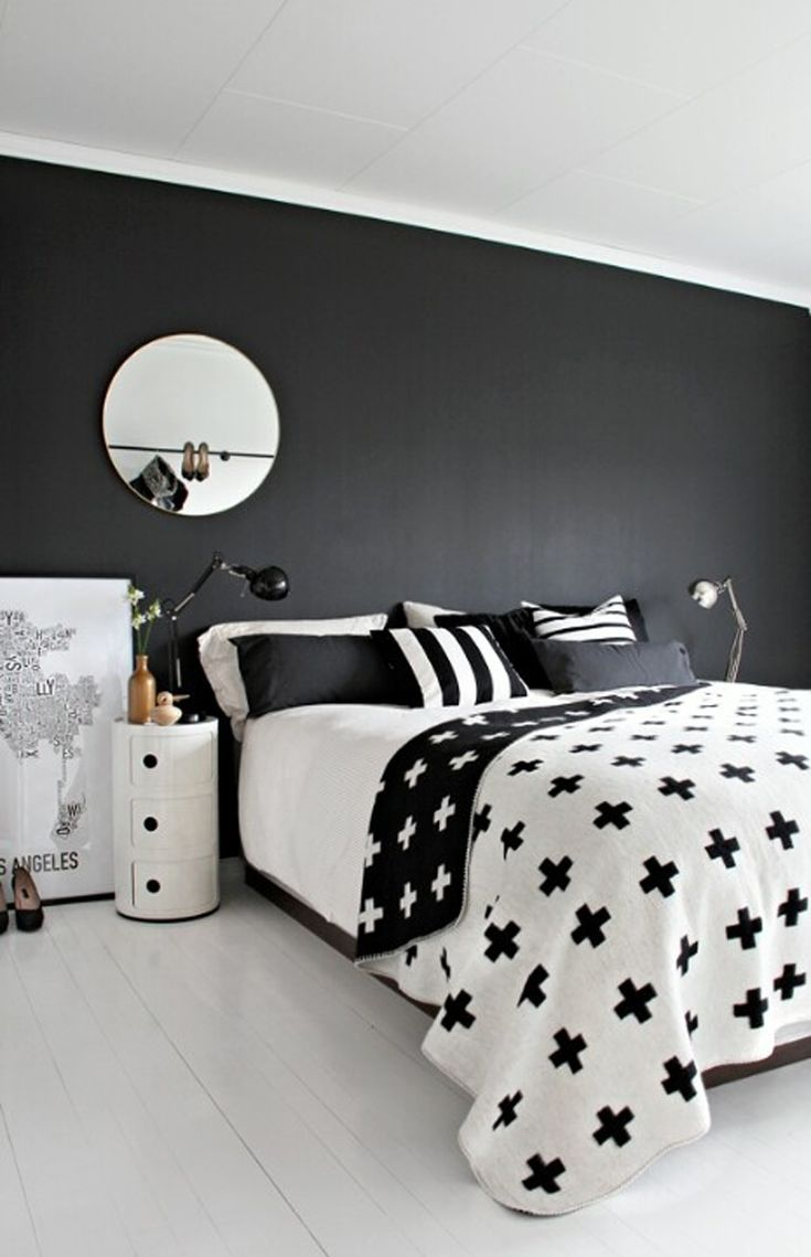 Monochrome, graphic bedroom