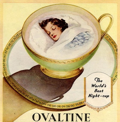 Vintage Ovaltine ad--kid in a kup. Introduced grandson to Ovaltine, and he wants it as a present every Christmas!