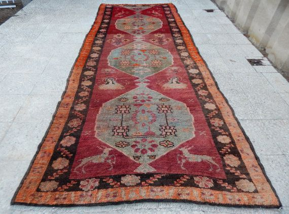 Pictorial RUNNER RugVintage Turkish Muted Color by HANDSONHIPS