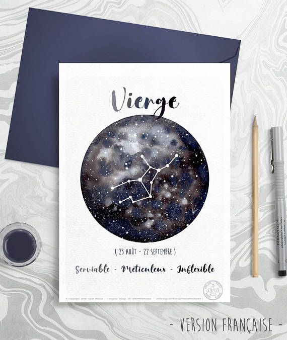 Astrology Card – Zodiac Indicators – Virgo, Horoscope, Planets Watercolor, Constellation Illustration, Galaxy drawing, Reward thought, September month