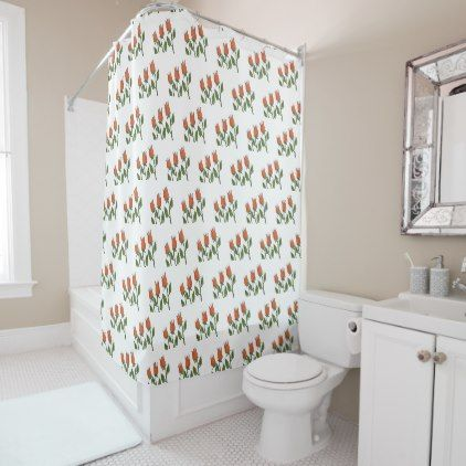 Floral Watercolor Spring Tulips White Pure Elegant Shower Curtain