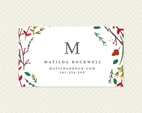 Watercolor Wreath Business Card Design. Single Sided Floral Calling Card. Flowers Botanical Floral Hand Drawn Chic Elegant Minimal Monogram
