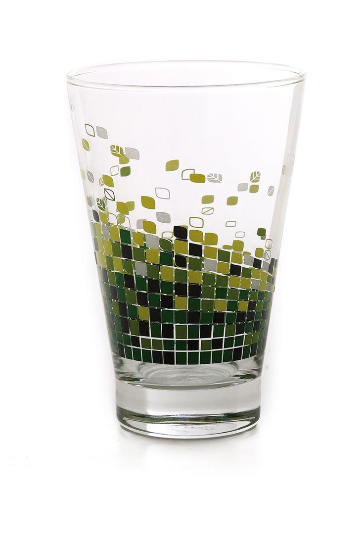 Vaso de cristal decorado. 435ml. Disponible en distintos colores.