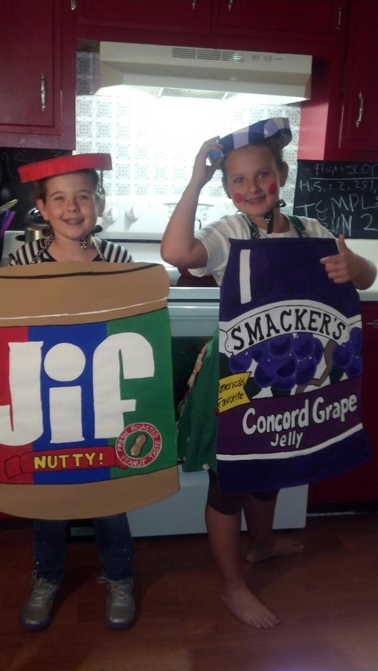 My favorite combination! My sweet lil peanut butter and jelly! Made these costumes for famous pairs day for Homecoming week at school! :)