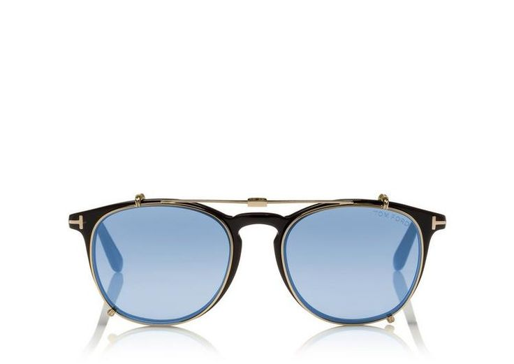 Tom Ford soft round optical with clip.