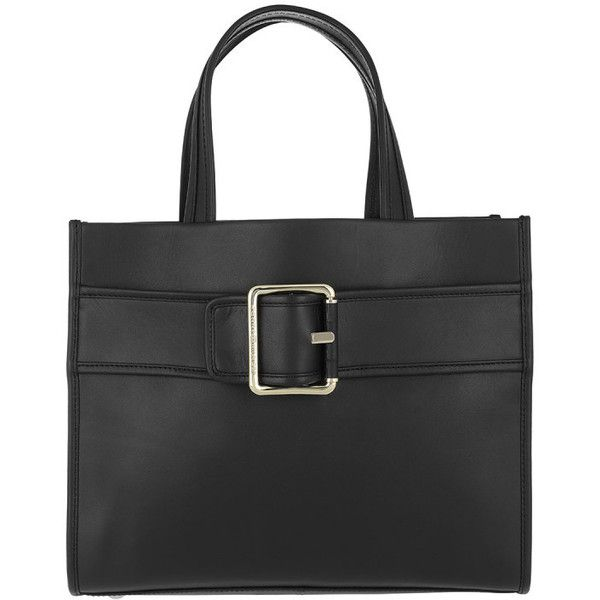 Tommy Hilfiger Handle Bag - Tommy Buckle Leather Tote Black - in black... ($350) ❤ liked on Polyvore featuring bags, handbags, tote bags, black, tommy hilfiger tote, leather tote handbags, leather tote purse, leather man bags and hand bags