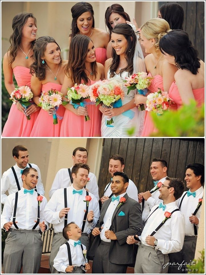 Coral and Turquoise Weddings! Love the ribbons and the grey suites for the men and their snazzy bow ties
