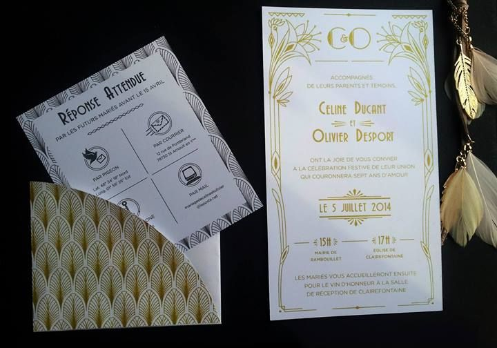Real Invitation - Sérigraphie - Gold - Gatsby-  La barbe bleue - https://www.facebook.com/pages/Barbe-Bleue/434620829952648
