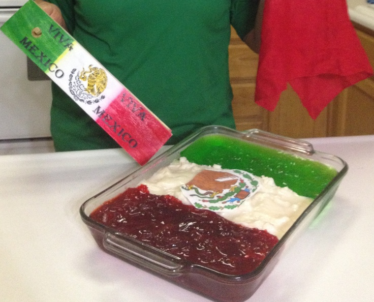 Jello of the Mexican Flag for Mexico's Independence Day. This was my mother's idea. So fun!