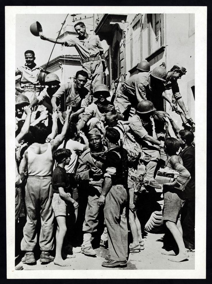 Italians greet Brazilian Troops at Massarosa - Italy 1945