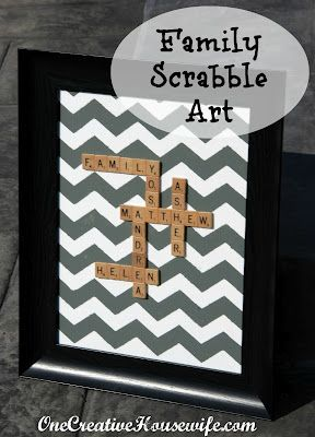 Cute idea using the alphabet tiles we carry - perhaps placing a softened family photo in the background