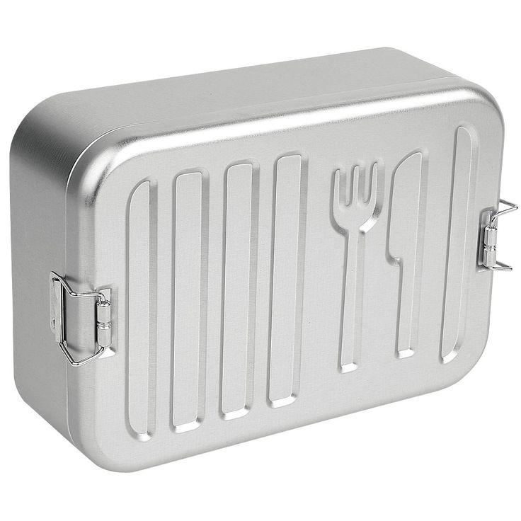 """Lunchbox, contenitore portapranzo, """"Denn Du Bist Was Du Isst"""" dei #Rammstein in metallo sottile con chiusura solida e logo impresso. Prodotto non adatto alla lavastoviglie. Dimensioni: 22 x 15,5 x 7 cm circa (lunghezza x larghezza x altezza)."""