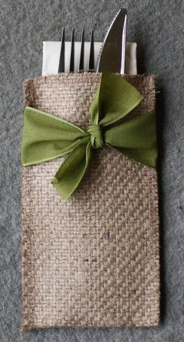 "Package includes 8 natural burlap pouches wrapped with a hand-tied ribbon. Pouches are 6"" X 3 3/8"" - custom sized to hold a napkin and set of silverware."