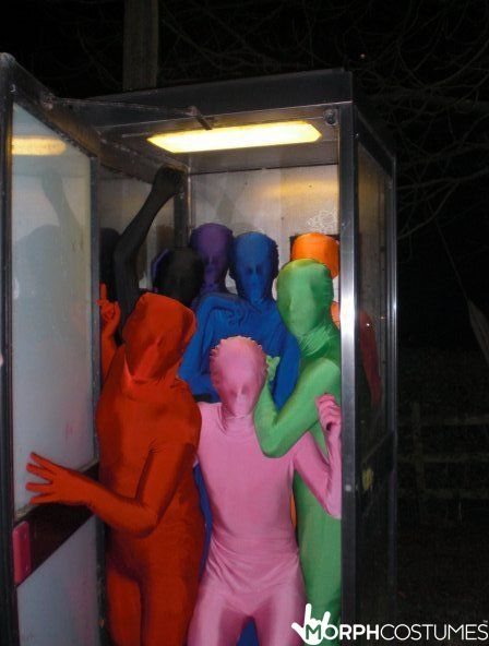 Bachelor Party Costume Ideas: Bring the full spectrum to the party with all different colour Morphsuits.