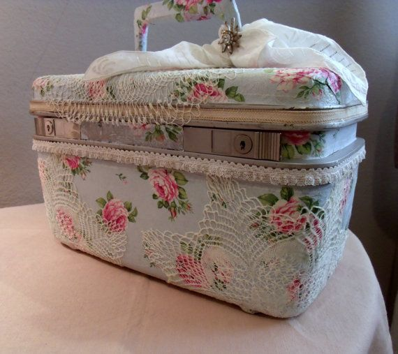 Vintage Train Case Recycled Decoupaged Roses by SweetRepeatVintage