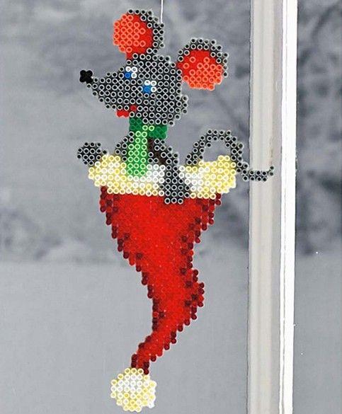 Weihnachtsmaus Hama Bügelperlen