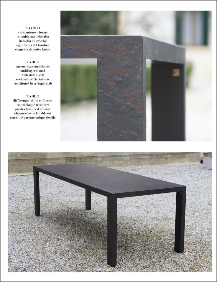 Table Space Stone Slate Table measures 200 x 90 x 5 cm; multilayer coated with slate sheet; each side of the table is constituted by a single slab.
