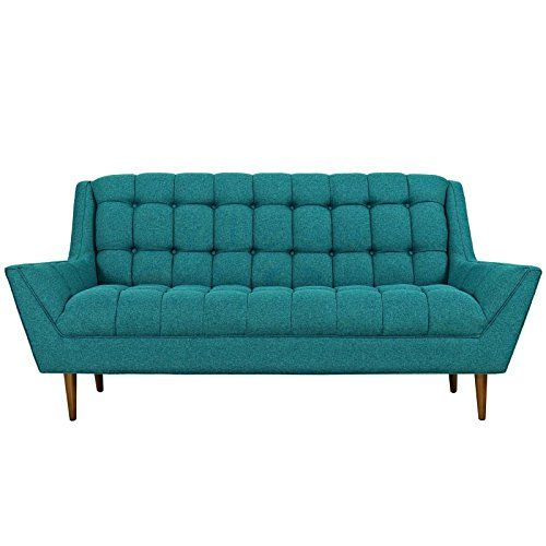 Midcentury Modern Modway Response Mid-Century Modern Loveseat Upholstered Fabric in Teal