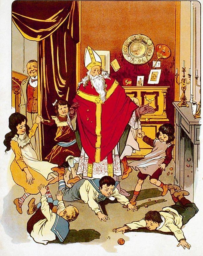 Sint Nicolaas op strooi-avond      Het leeft in de schoorsteen,    Hoor, hoor dat geraas!    Hoe rollen hier de appelen,    't Is vast Sint Nicolaas!    Maar neen... 't Is zijn knechtje,    Dat zwart is van kleur;    Want ginds staat de bisschop,    Voor de open deur.    Zing spoedig een liedje,    Zie, zie, hoe hij gooit!    Hoe harder wij zingen,    Hoe ruimer hij strooit.