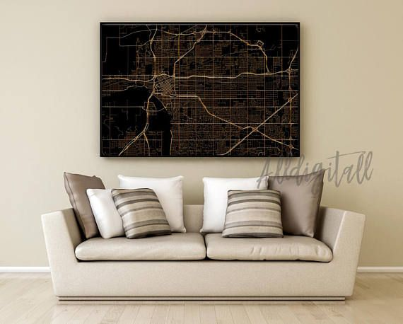 Tulsa map print Oklahoma poster USA city maps modern wall art