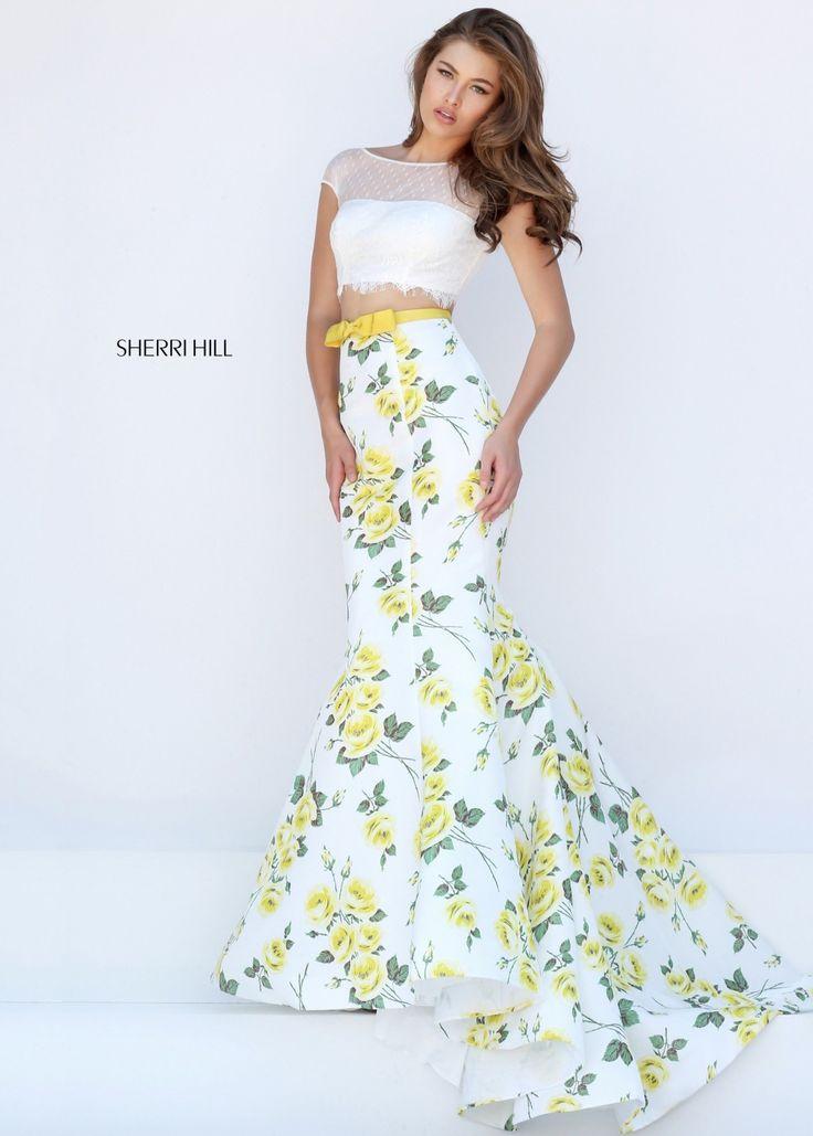 White and yellow prom dress