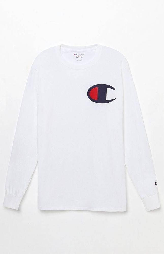 fdd6bf85 New Mens Champion White Heritage Signature Chest Logo Long Sleeve T-Shirt  Medium #Champion #BasicTee