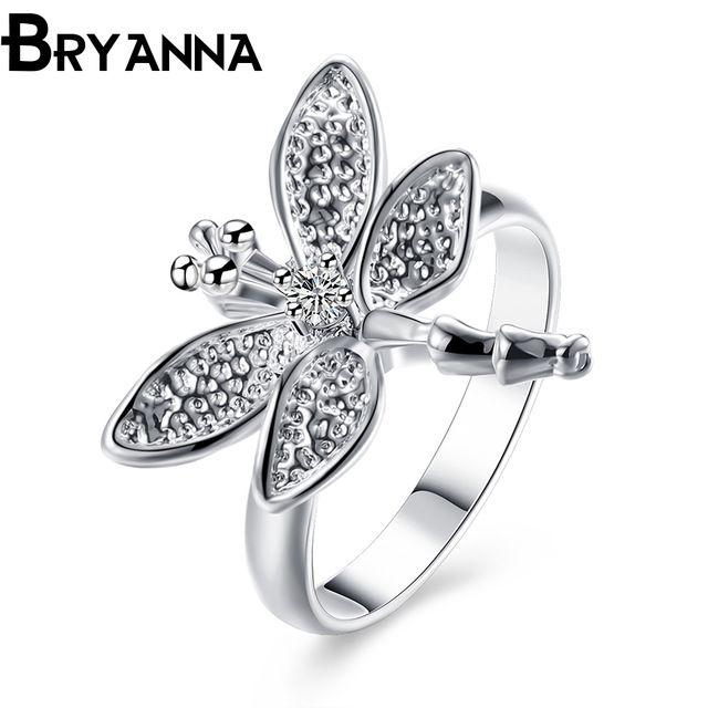 Bryanna New Trendy покрыло серебряные обручальные кольца для женщин, ювелирные изделия способа Anelli донна стрекоза Пара обручальное кольцо R4017