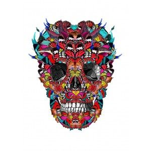 McQueen in Mexico Skull art print - day of the dead.  Available to buy online from Everything Begins.    Skull Art Print - available to buy online at Everything Begins.    #skullart #skullartwork #skullprint #skullartprint #art #print #artprint #artprints #artwork #colourfulart #modernart #contemporaryart #gicleeprint #limitededition #signedandnumbered
