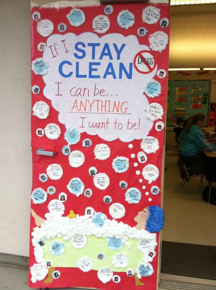 """Our red ribbon poster won 1st place in our school's door poster contest.  The theme is """"If I STAY CLEAN I Can Be Anything I Want To Be"""".  We made a bathtub with a bunch of bubbles floating up.  The kids each wrote what they could be if they stay drug free in a bubble.  We also put a picture of each of the kids in a bubble."""