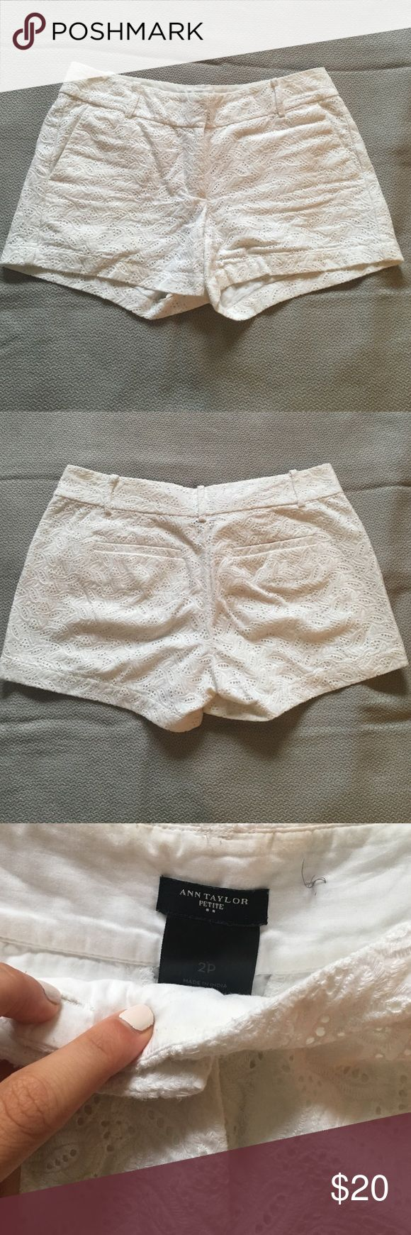 Ann Taylor Lace Shorts Super cute lace patterned shorts! They are in brand new condition, I bought them one size too big. Ann Taylor Shorts