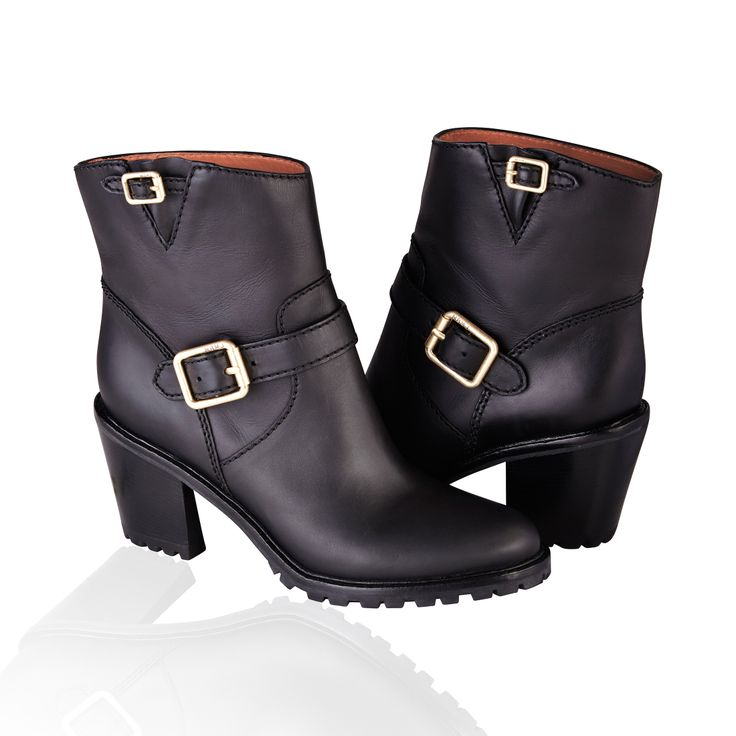 Marc By Marc Jacobs Buckled Strap Leather Ankle Boot Black - A small buckle at the top of this heeled boot mirrors a larger buckle across the ankle, with its buckled vamp and lugged rubber sole, this MARC by Marc Jacobs Leather Bucked boot lifts your look with work wear-inspired attitude.