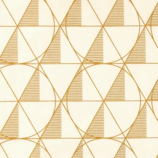 Cotton white w gold graphic pattern