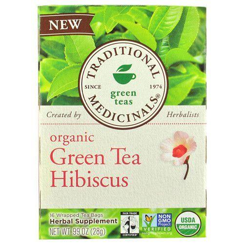 Traditional Medicinals Tea - Organic - Green Tea - Hibiscs - 16 ct - 1 Case
