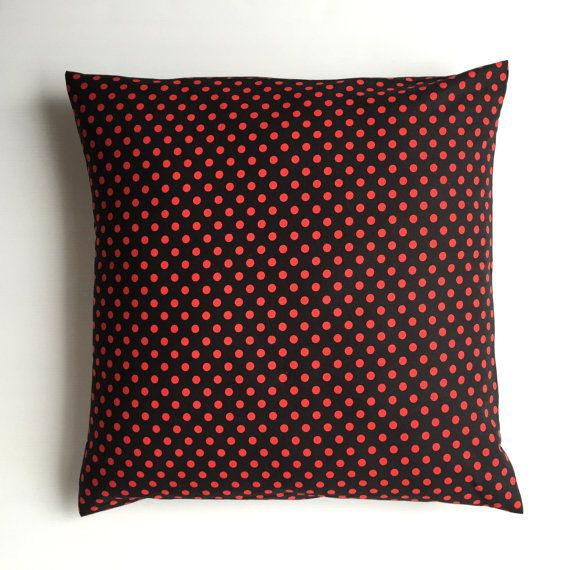Cushion cover handmade with red and black Minnie Mouse polka dot fabric