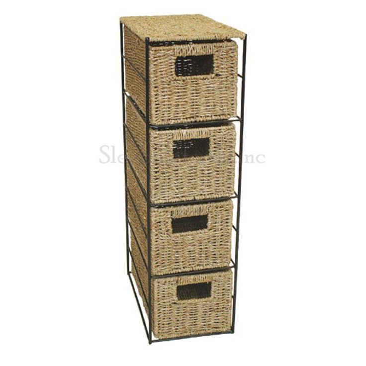 Tower Unit 4 Drawer Storage Black Metal Frame Chic Seagrass Beige Bathroom Gift