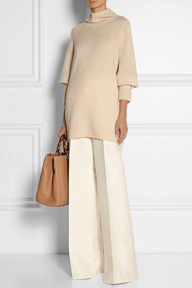 "oversized cashmere silk-blend turtleneck sweater + palazzo pants...I don't like the ""footless"" look, but would hem these pants 1/2 to 1 inch."