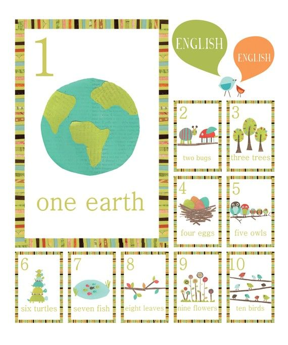 Nature Themed Counting Number Cards in English by ChildrenInspire, $22.00