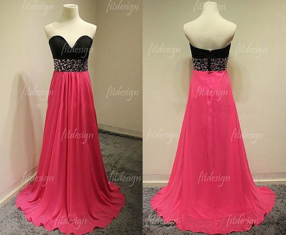 Black and Pink Strapless Prom Dress