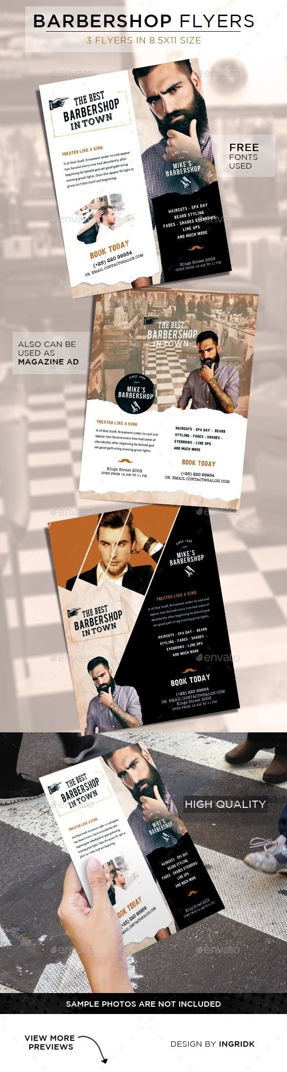 PSD Barbershop Vintage Flyers Template • Only available here ➝ http://graphicriver.net/item/barbershop-vintage-flyers/11250101?ref=pxcr