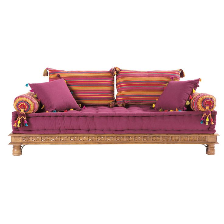 2/3 seater cotton Indian day bed, multicoloured Pondichéry