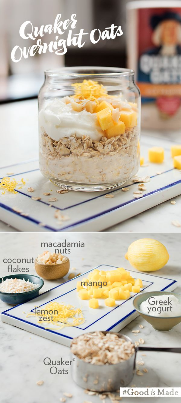 Summer is so close, you could almost taste it! Taste the tropics with Quaker's Coconut Mango Overnight Oats recipe. Just soak your favorite ingredients overnight for a easy, make-ahead breakfast. The cool, sweet taste of oats paired with coconut milk and mango will have you excited for your day.