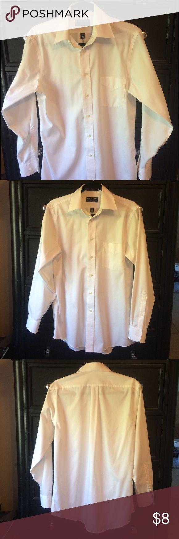 Men's white dress shirt, classic fit 14.5, 32-33 Men's white dress shirt, classic fit 14.5, 32-33. Slight yellowing around collar. stafford Shirts Dress Shirts