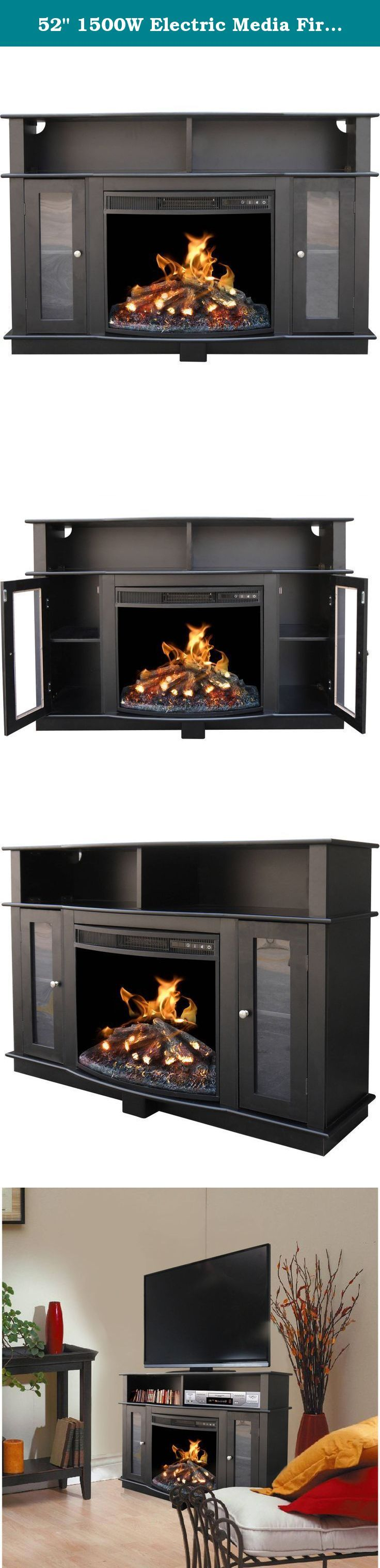 """52"""" 1500W Electric Media Fireplace TV Stand with LED Light, Remote Control, and Timer. This 52"""" Décor Flame Media Unit Fireplace Mantle is for TVs up to 60 inches. It is a 1500W unit that heats 325 square feet to keep you feeling cozy during the winter. It has a remote control, 6 hour timer, and fire adjustment. This classy black TV stand with fireplace unit is the perfect living room unit. Model# MM277-52EBK Televisions sold separately. ."""