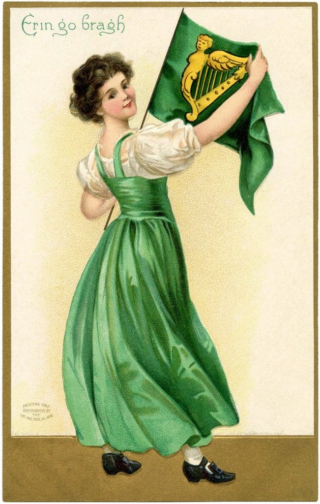 St Patricks Day Flag Lady - The Graphics Fairy