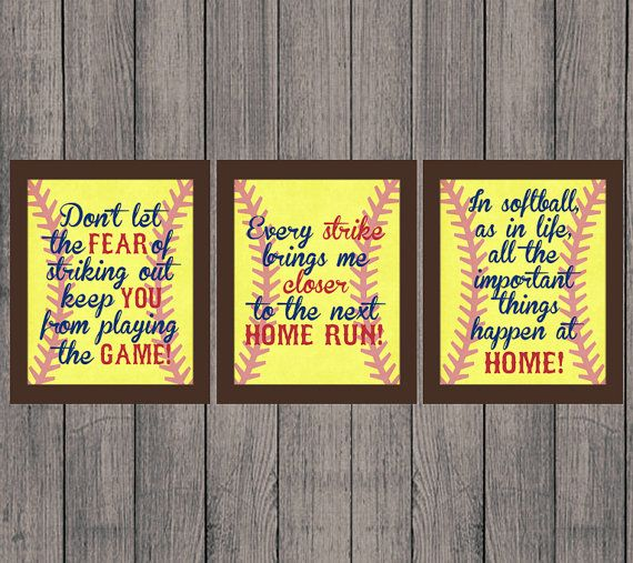 INSTANT DOWNLOAD, Softball Quotes, High School, Sports, Home Run, Girl, Vintage, Decor, Softball, Set of 3 Printable 8x10, Wall Print JPEG