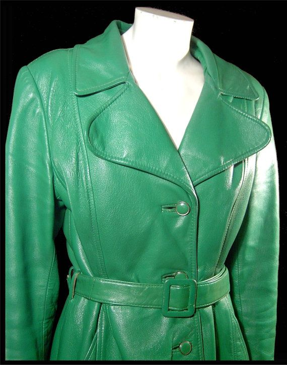 Vintage 1960s bright green leather trenchcoat  XS / S by fatspazzy, $195.00