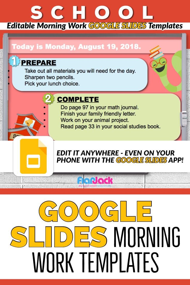 editable school morning work google slides templates flapjack