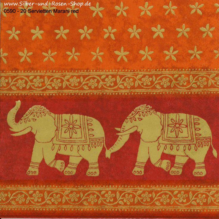 Papierservietten Marani red Elefantenmotiv