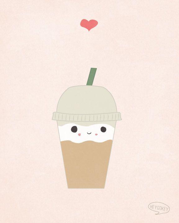 Kawaii Latte Illustration Coffee Wall Art Decor 8x10 por heygokey. , via Etsy.
